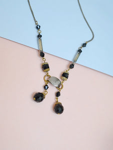 1920s Faceted black glass tassel necklace