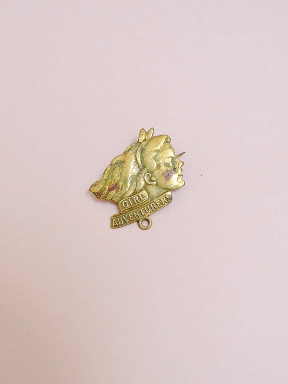 1950s Brass Girl Adventurers membership badge