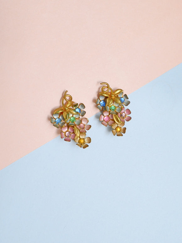 1940s Pastel rhinestone foral grape earrings