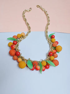1950s Celluloid & composite fruit cluster necklace