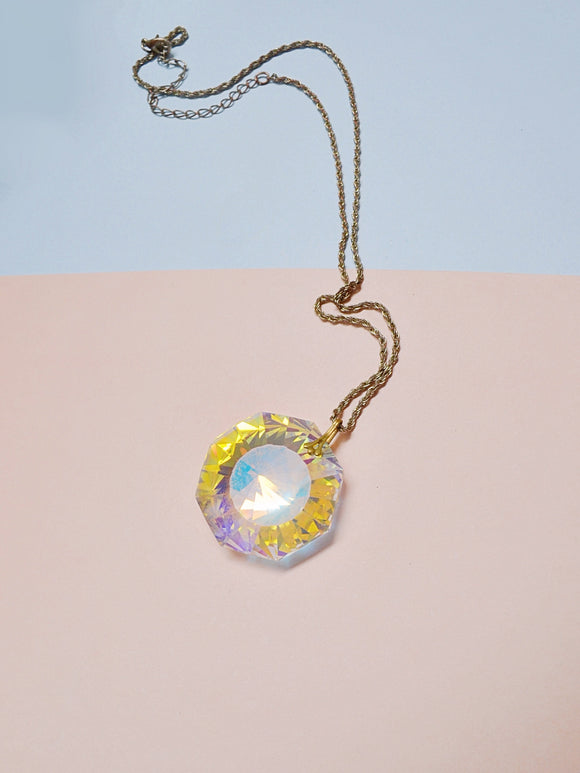 1970s Psychedelic iridescent glass gem pendent necklace