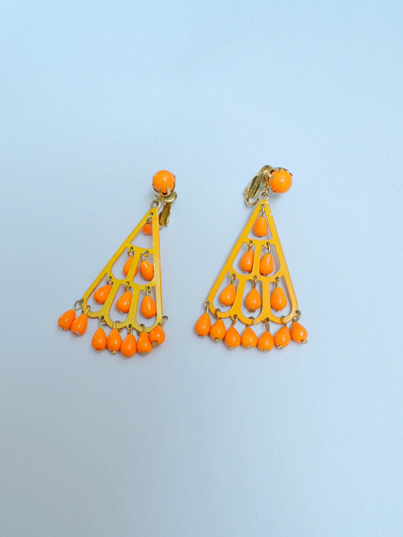 1970s Orange enamel fan drop earrings