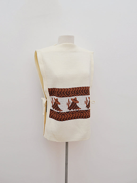 1960s Cream & brown novelty Mexican motif tabard sweater top
