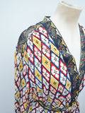1970s Harlequin pansy print cotton belted blouse