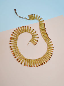 1950s 60s Gold tone articulated rhinestone necklace