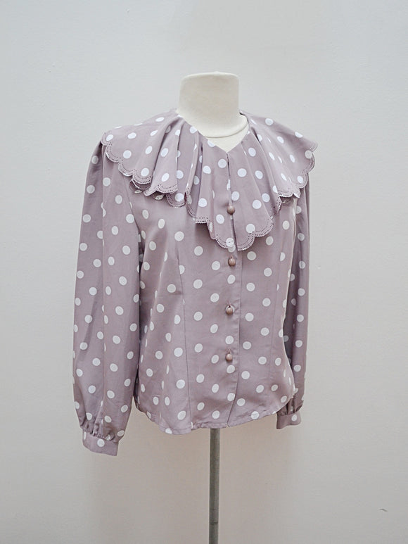 1980s Grey polka dot statement scalloped collar blouse