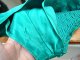 1940s 50s Green satin convertable strap swimsuit - Extra Small