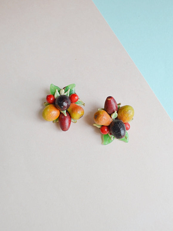 1930s 40s Composition & celluloid fruit salad cluster earrings