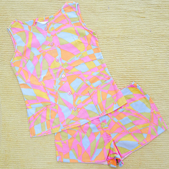 1960s Pastel print cotton shorts & summer top set - Extra small Small