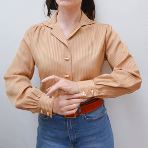 1970s Beige Jaeger toggle button day blouse - Small Medium