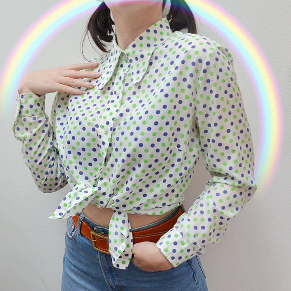 1970s Green & navy blue polka dot beagle collar blouse - Medium Large