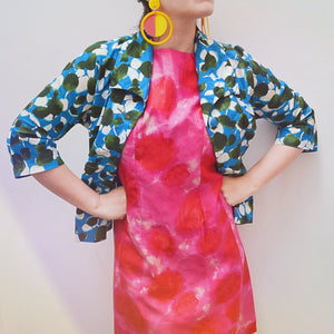 1960s Hot pink printed silk shift dress - Extra small Small