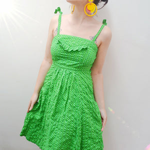 1970s Green seersucker cotton spotty sundress - Extra small