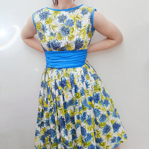 1950s Blue & yellow floral print cotton full skirt dress - Extra small