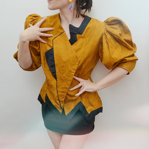 1980s Ochre cotton huge sleeve zigzag hem blouse - Medium Large