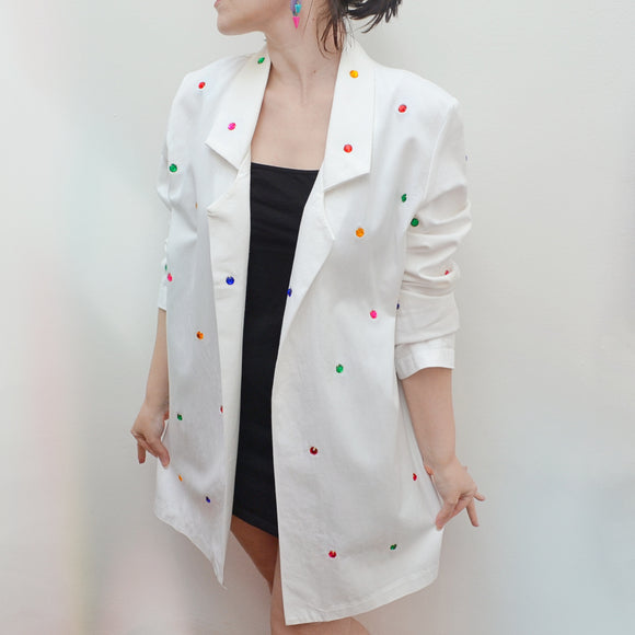 1980s Multicoloured gem rhinestone white cotton jacket - Small Medium Large