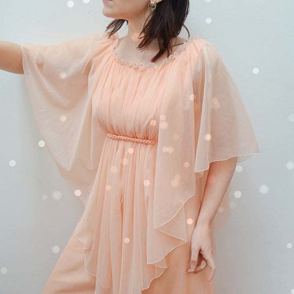 1970s Peach cascade sleeve maxi dress - Extra small