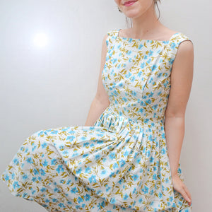1950s Blue & white floral cotton summer dress - Extra small