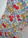 1980s Floral cotton boned strapless rara dress - Small Medium