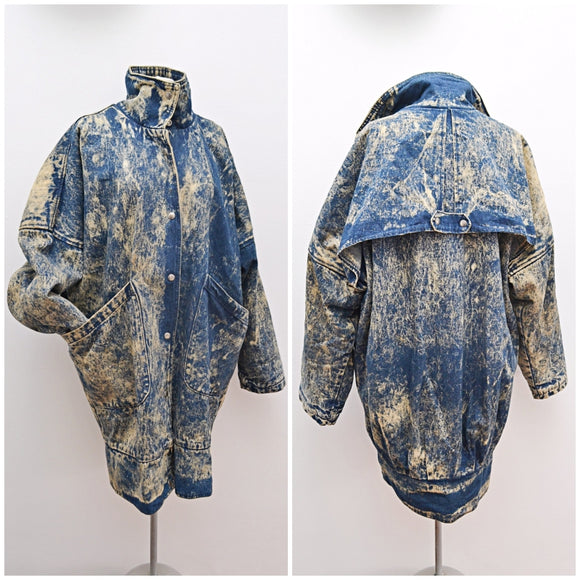 1980s Acid wash denim fleece lined oversized cocoon coat