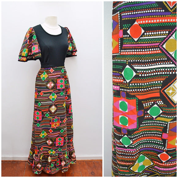 1970s Multicolour geometric dot printed angel sleeve maxi dress