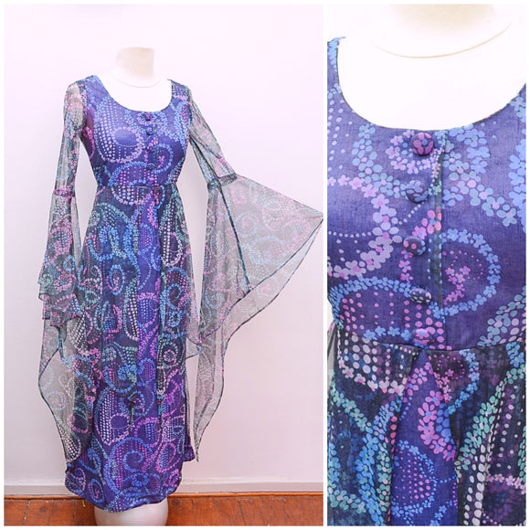 1960s Psychedelic medieval sleeve blue maxi party dress