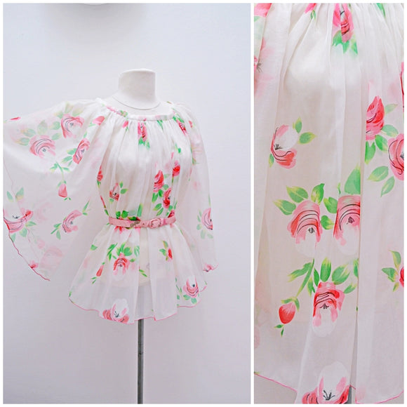1970s look Pink rose print white chiffon angel sleeve blouse