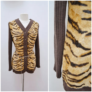 1970s Animal print velveteen & skinny rib brown cardigan or jacket