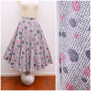 1950s Grey pink atomic polka dot St Michael cotton full circle skirt