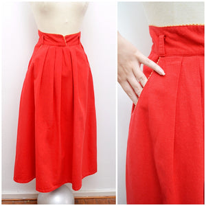 1970s does 40s Red cotton high waist skirt with banana embroidery