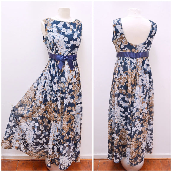 1970s Blue floral cotton mix summer maxi dress