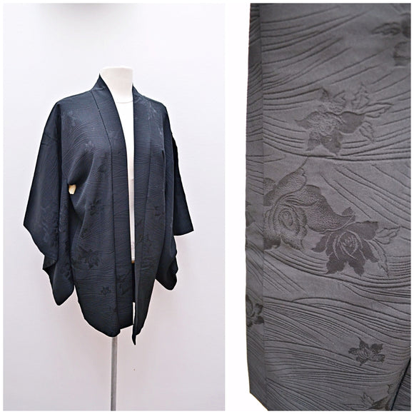 1950s Black & cream silk Haori jacket/robe