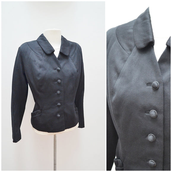 1940s 50s Black wool day jacket with pockets - Medium
