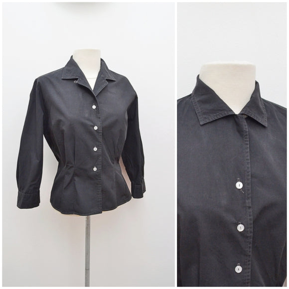 1950s Black cotton semi fitted Speake blouse