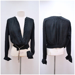 1920s Black silk habotai wrap front blouse or light jacket
