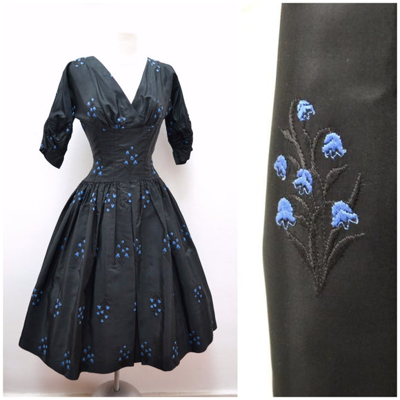 1950s Black taffeta bluebell embroidered full skirt Dior look evening dress