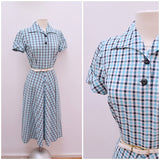 1940s Blue check cotton shaped collar day dress