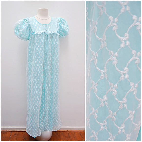 1960s Baby blue embroidered double layer maxi robe - Small