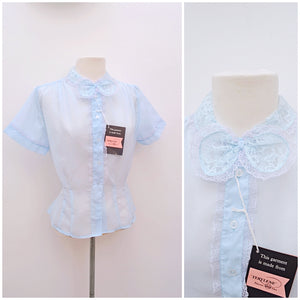 1950s Baby blue nylon blouse with lace bow, Deadstock