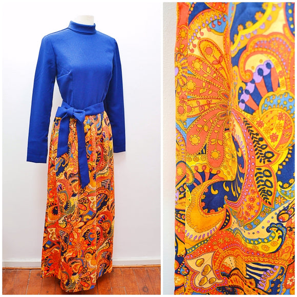1970s Blue crepe & psychedelic orange print maxi dress