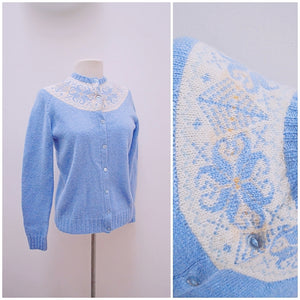 1950s Baby blue wool handknitted Nordic style cardigan