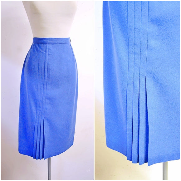 1950s Blue wool pleated detail straight Jewel Togs skirt