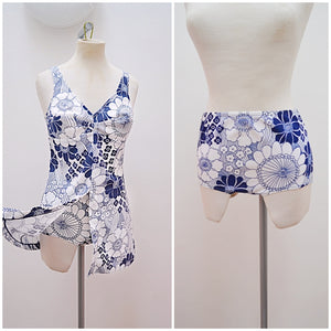 1960s Slix two piece blue & white floral bikini tunic swimsuit - Small