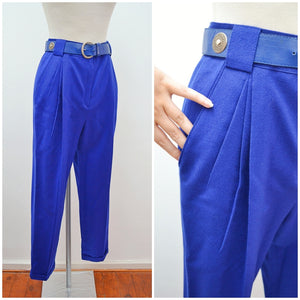 1980s Royal blue wool pleated tailored pants with belt