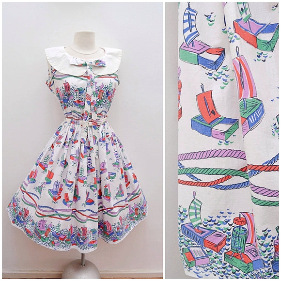 1950s Matchbox boat novelty print cotton dress