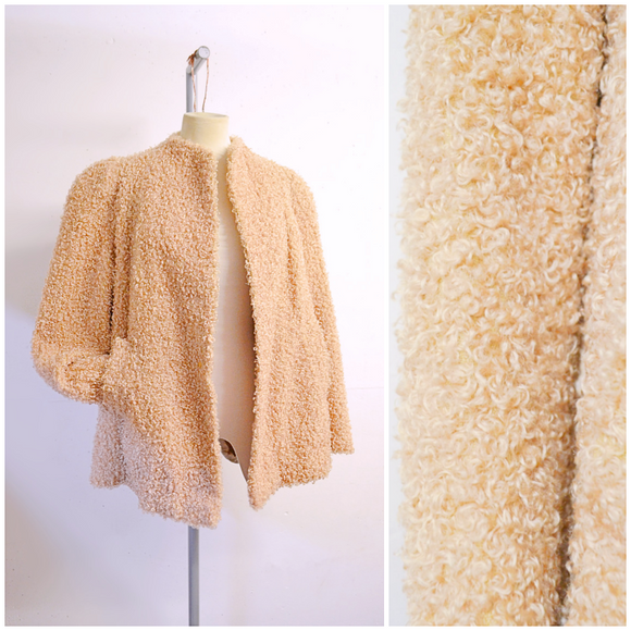 1940s Peach boucle wool open fronted swing jacket