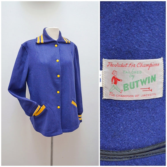 1950s Royal blue & yellow wool Butwin varsity jacket