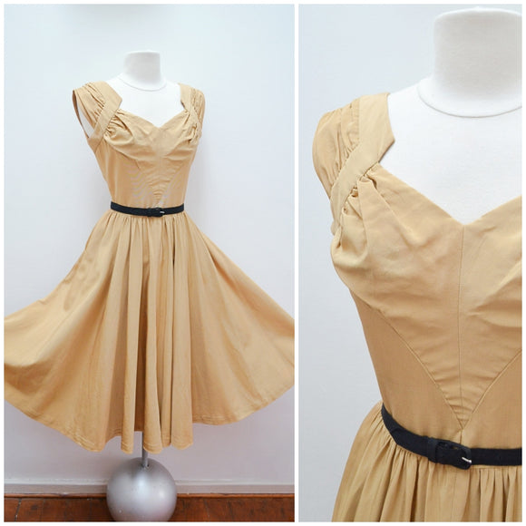 1940s Gold silk faille full skirt evening dress - Extra Small