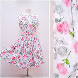 1950s White cotton summer dress with pink grey flower print