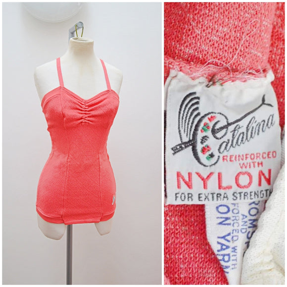 1940s Coral pink jersey ruched bust Catalina swimsuit - Extra small Small